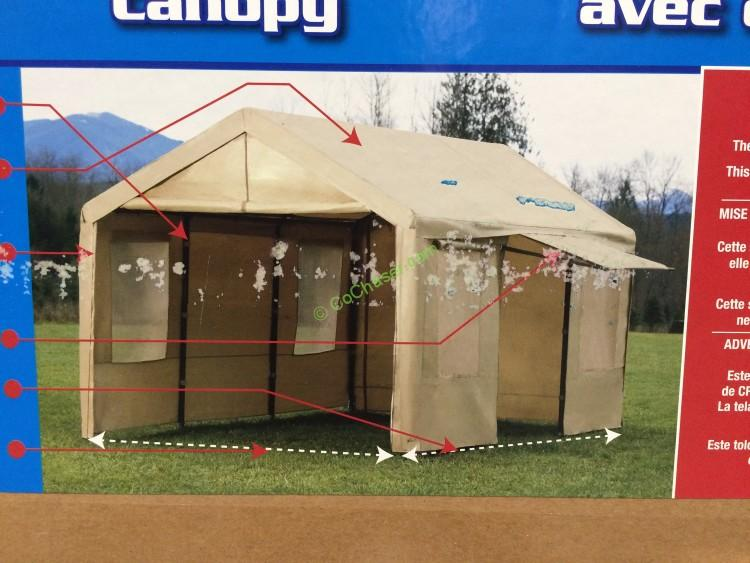 Costco 781893 Canopy Steel Frame –Tan Cover With Side Wall