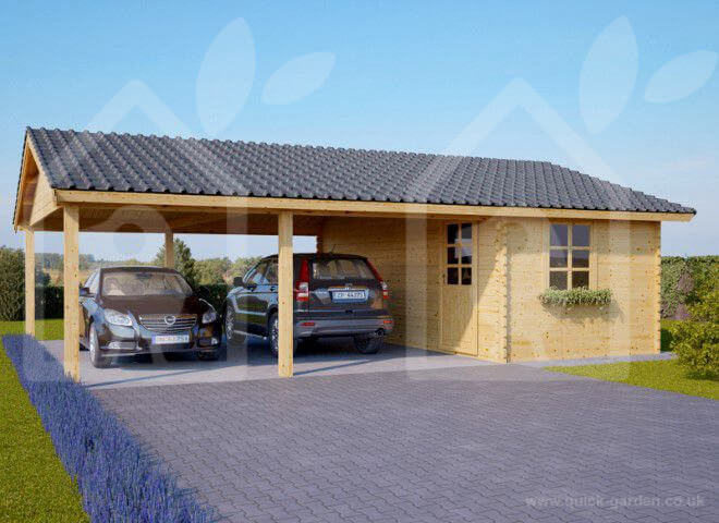 Two Car Wooden Carport With A Storage Cabin 6m X 7.5m