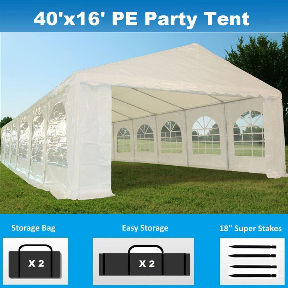 9' X 9' PE Party Tent Heavy Duty Carport Canopy Wedding Gazebo ..