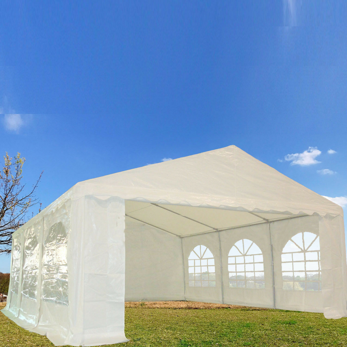 9'x9' PE Party Tent Heavy Duty Carport Canopy Wedding Shelter ..
