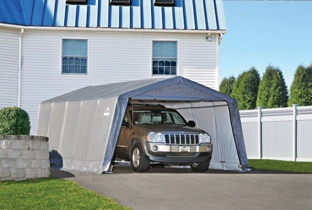 ShelterLogic 12x20x8 Auto Shelter Portable Garage Steel ..