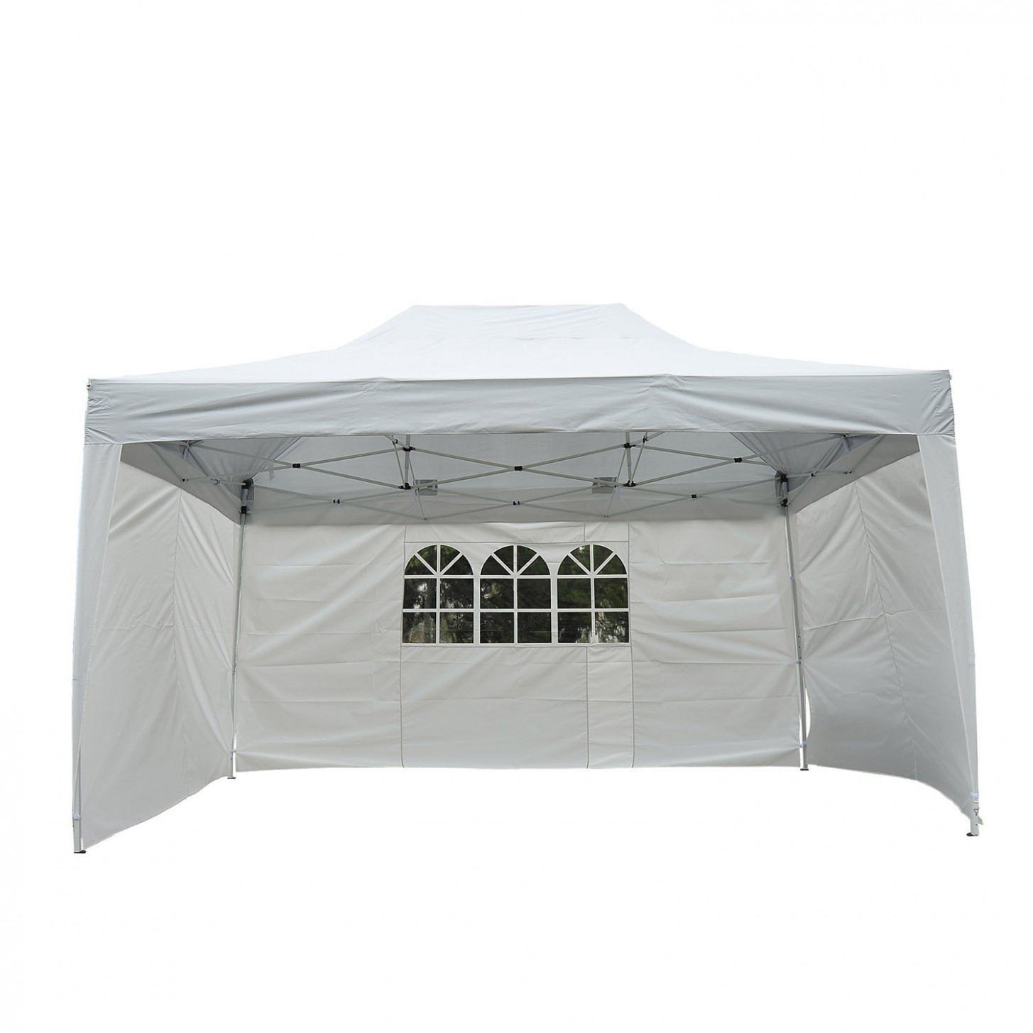 Outsunny 10'x15' Outdoor Pop Up Party Tent Folding Wedding Gazebo Canopy with 3 Removable Sidewalls, White Aosom