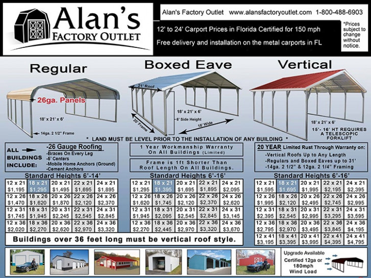 Buy Carports In Florida And Save Alan's Factory Outlet Price For Portable Carport