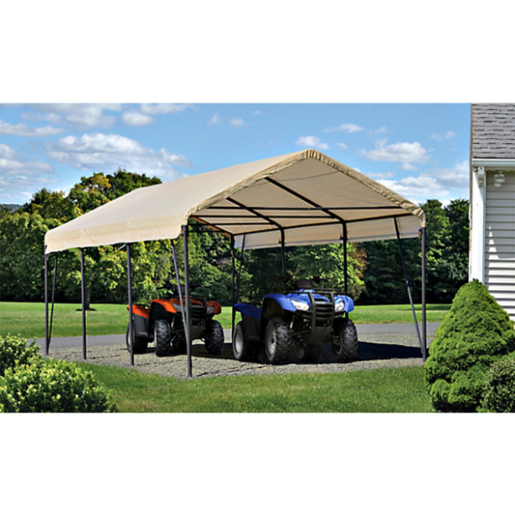 ShelterLogic 12x20x9 Carport In A Box, Sandstone Cover ..