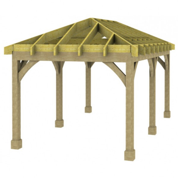 1 Bay Carport With Low Pitch Hipped Roof Carport Minimum Roof Pitch