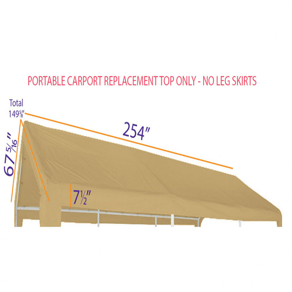 10x10 Portable Carport Garage Storage Tent REPLACEMENT TOP ONLY TAN Without Leg Skirts Copy Carport Canopy Replacement Top