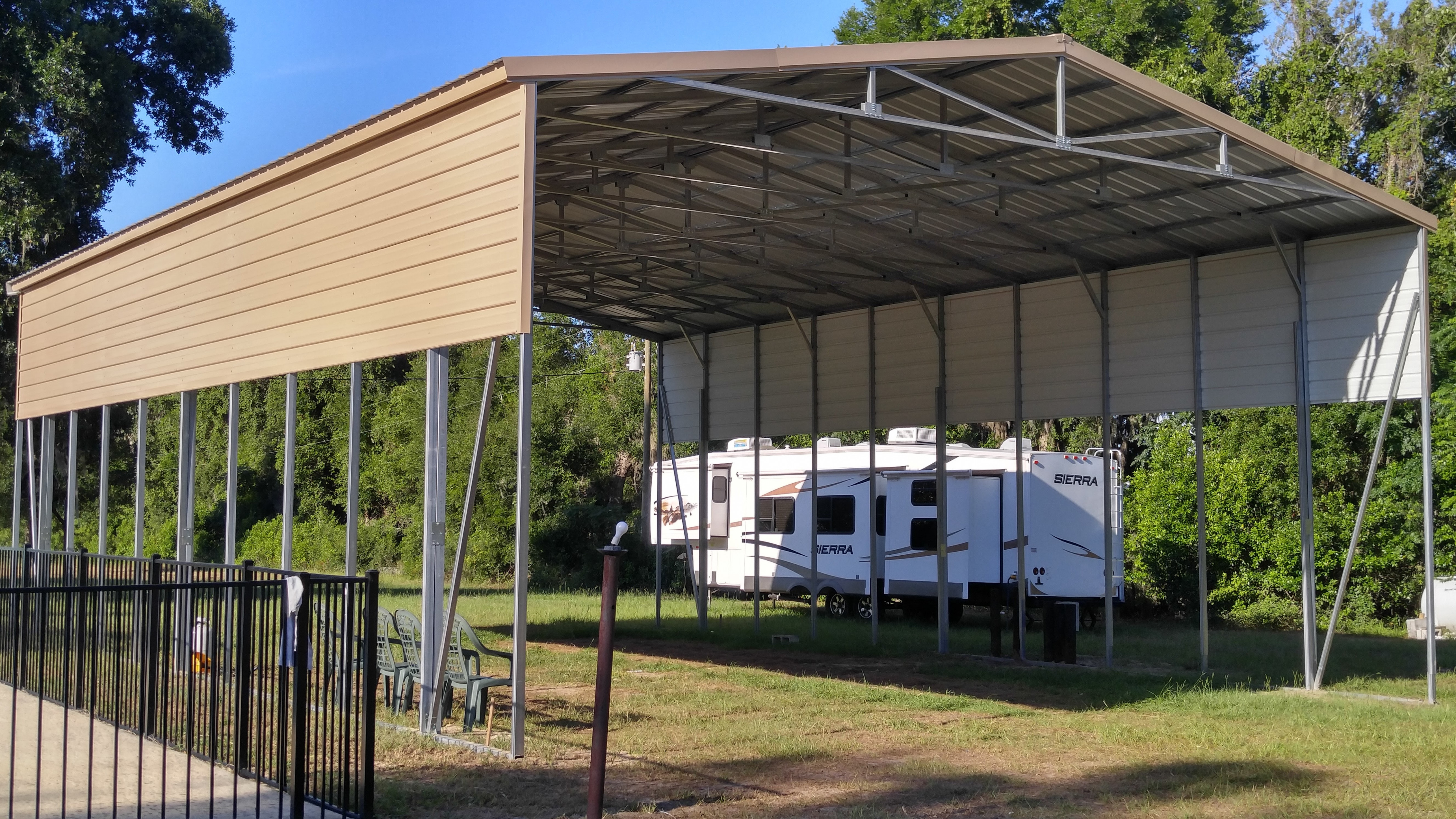 10x10 RV Cover Central Florida Steel Buildings And Supply Carport Vertical Roof
