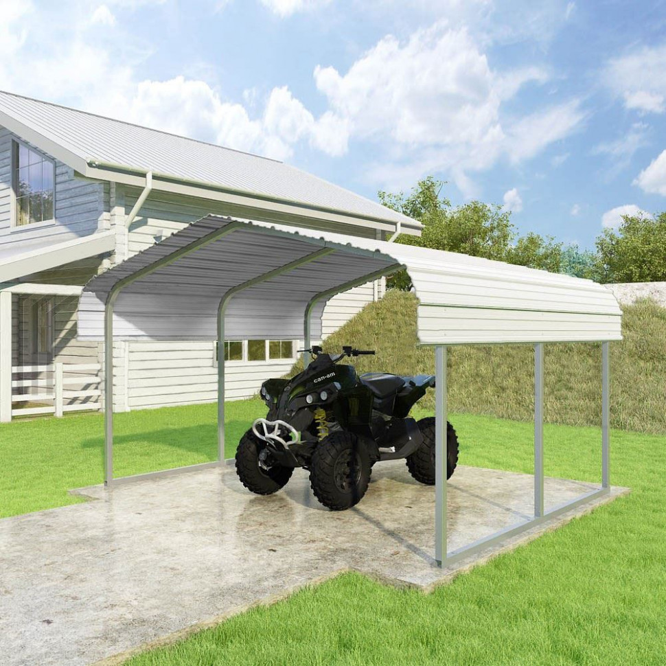 11'W X 11'L X 11'H White ATV And Lawn Equipment Carport By Versatube Carport Canopy Hardware