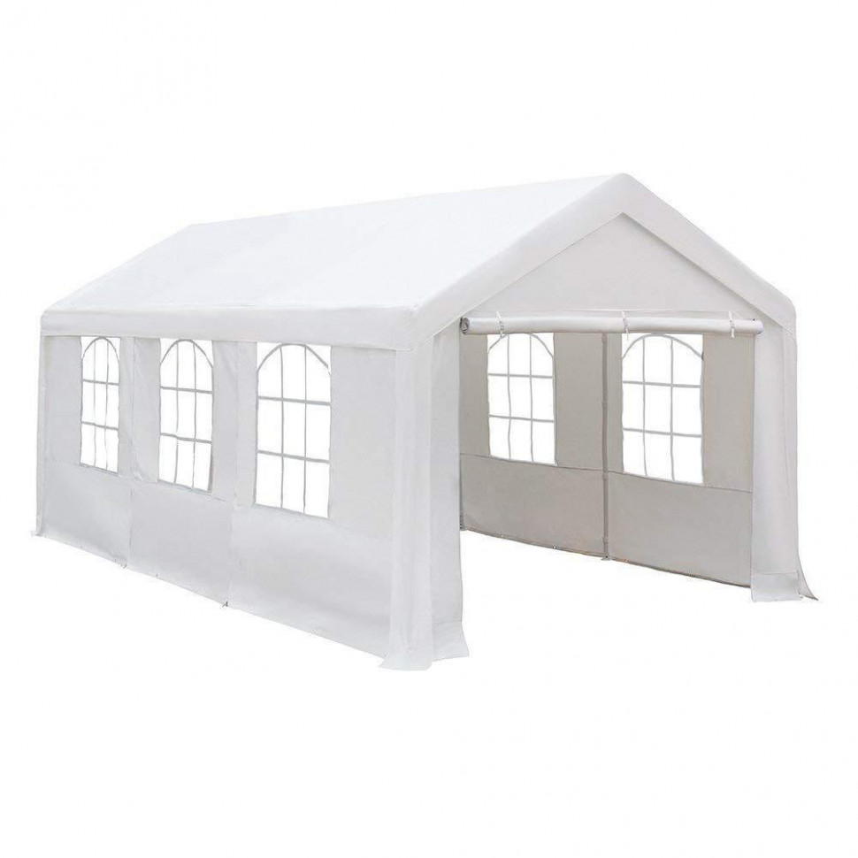 11 X 11 Feet Heavy Duty Carport/ Canopy With Windows And Sidewalls, White Carport Canopy With Sides
