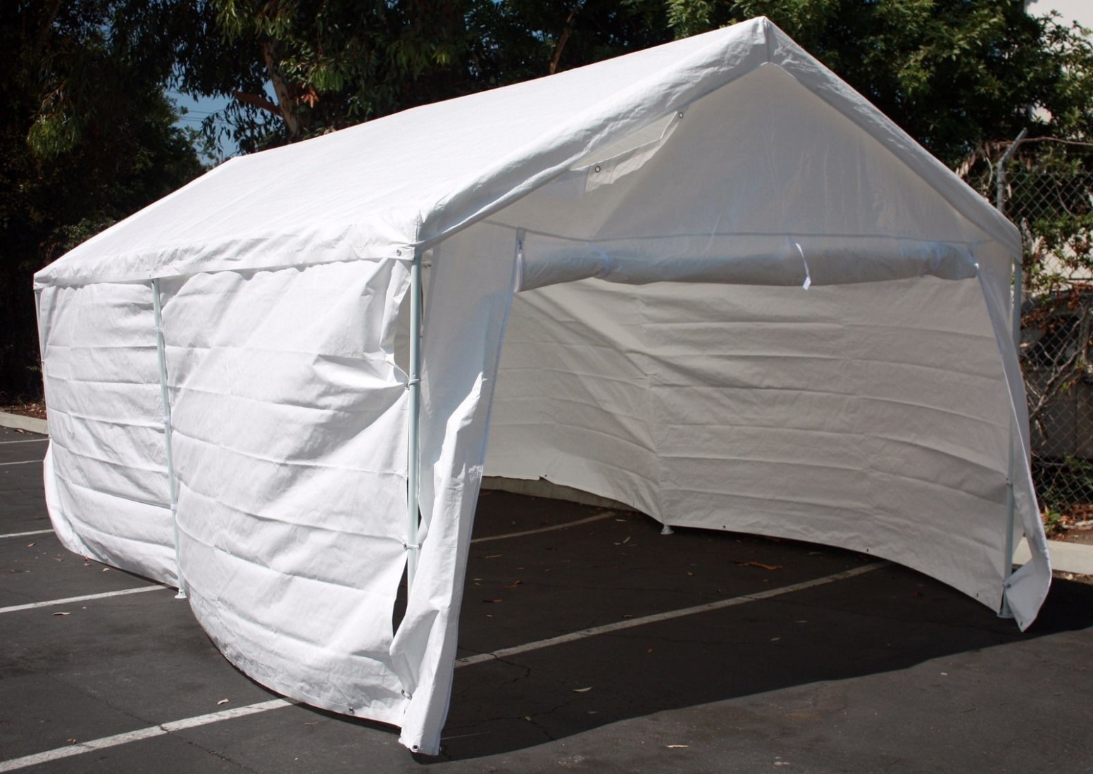 11'x11' Complete Set Garage Carport W/Side Wall & Frames Car Shelter Canopy Tent Carport Canopy With Sides