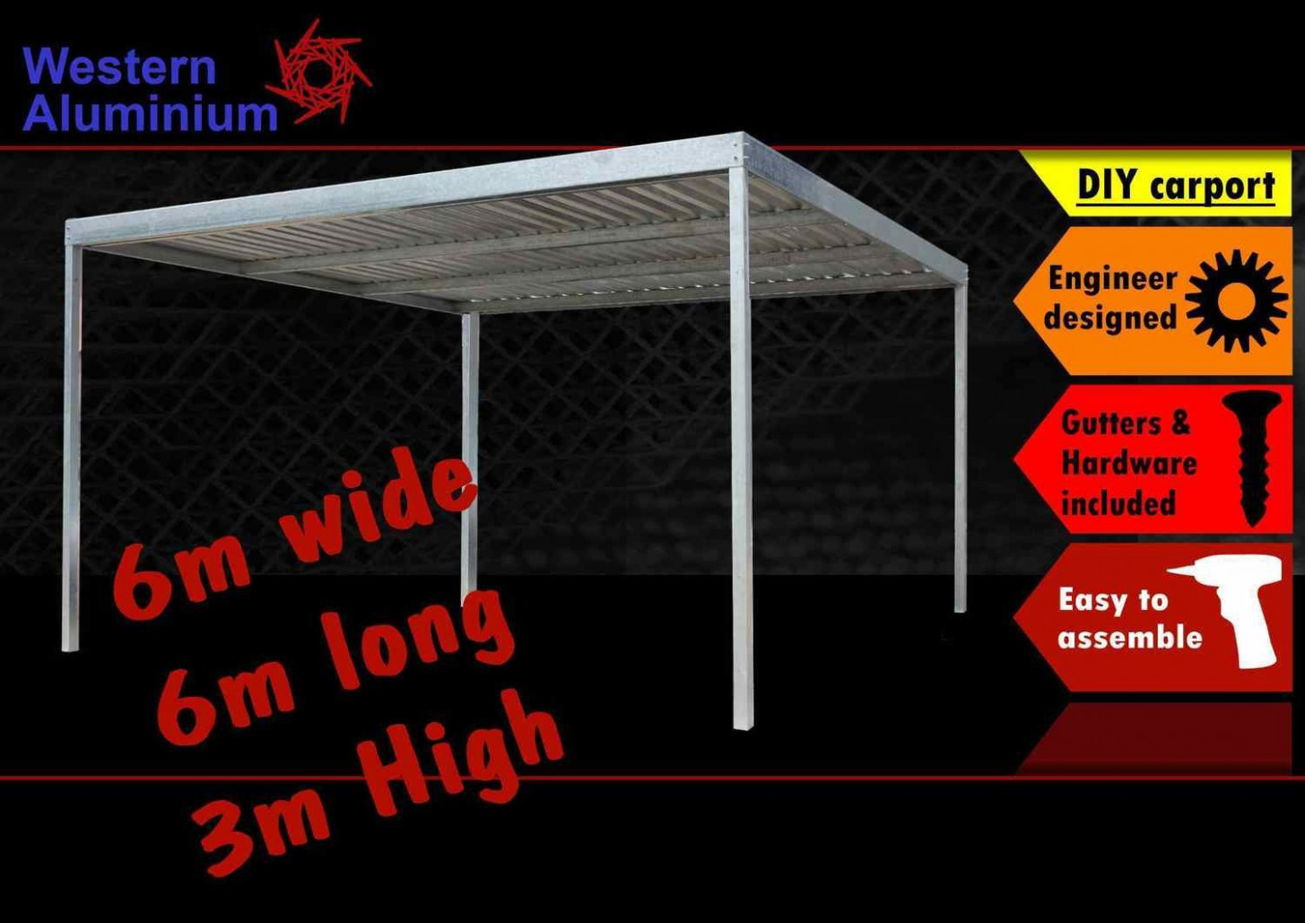 11m x 11m galvanised carport kit 11m high