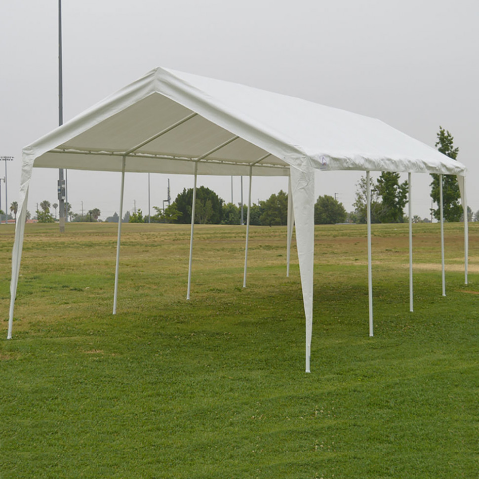 11x11 Garage Canopy Tent Impact Canopies Portable 11 Leg Outdoor Carport Sun And Rain Shelter, White Carport Canopy Anchors