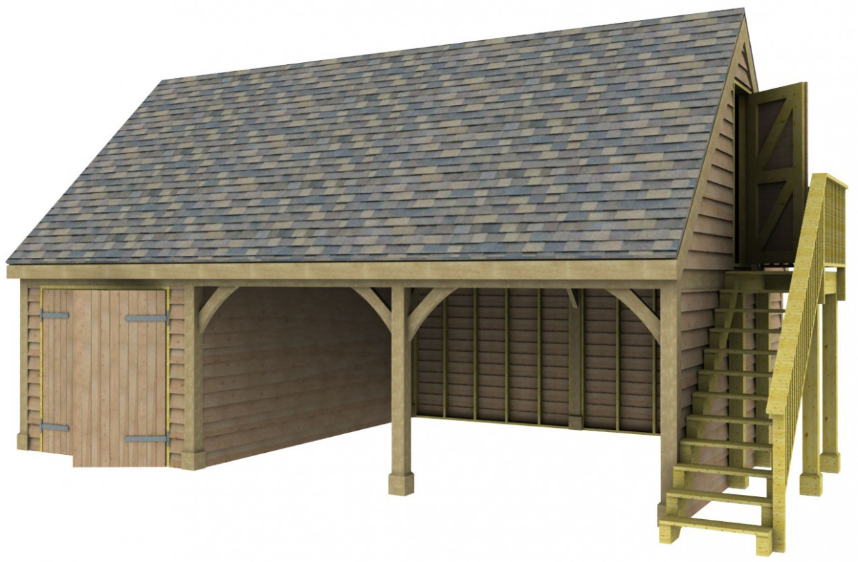 12 Bay Garage With Store And Room Above Post & Beam Green ..