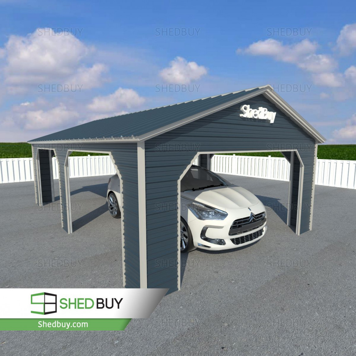 12'W X 12'L X 12'H Side Entry Carport With Vertical Roof ..