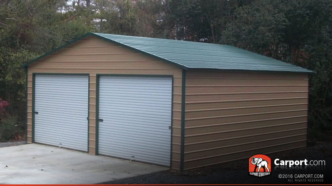 12′ X 12′ Metal Garage Building For Two Cars Wooden Garages With Carports