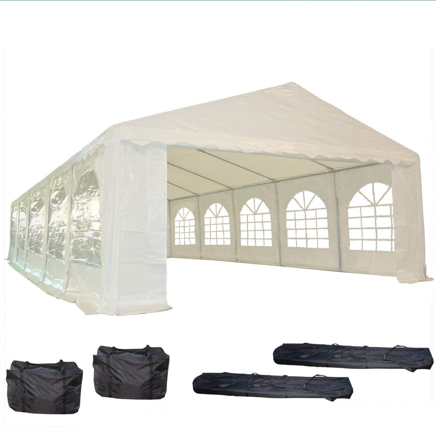 12'x12' PE Party Tent White Heavy Duty Wedding Canopy Carport Shelter With Storage Bags By DELTA Canopies Carport Tent Party