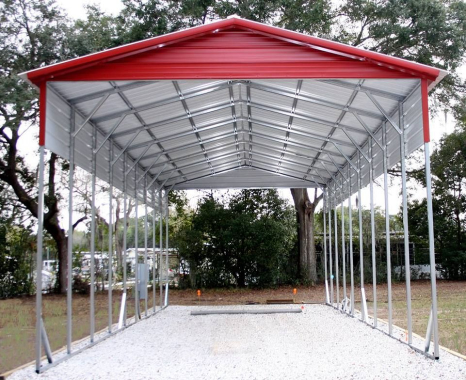 12x45x12 A-frame RV cover vertical roof - extra panels ...