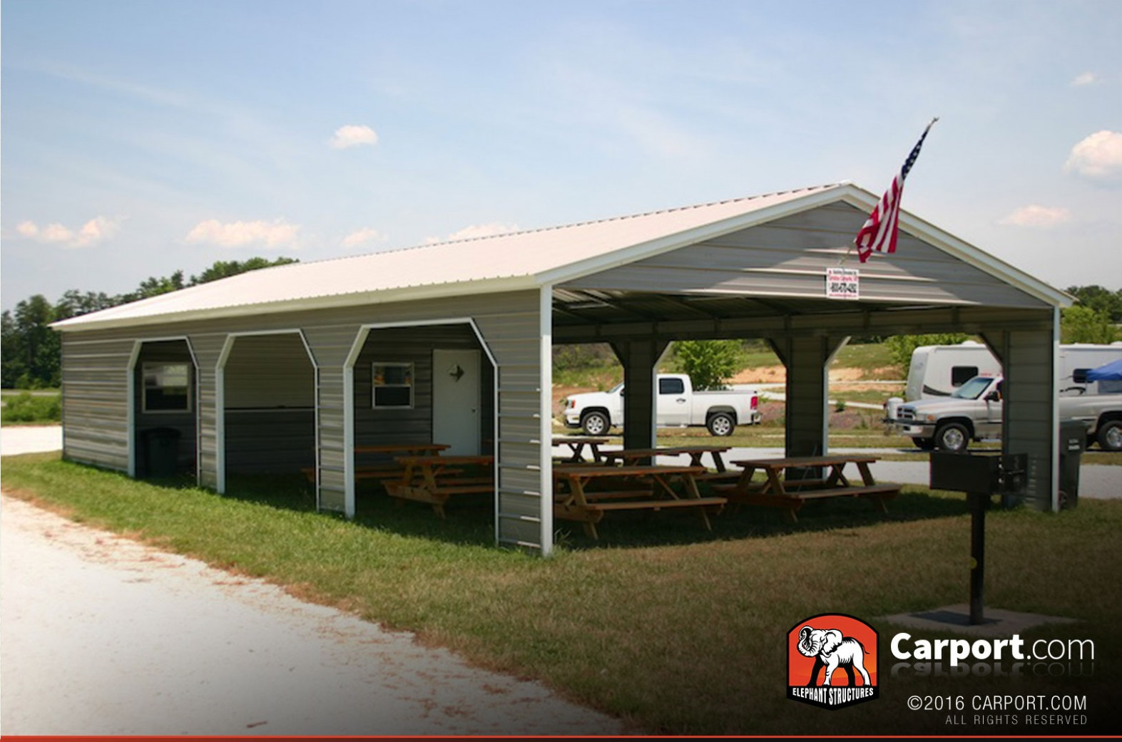 13' Wide Metal Picnic Shelter with Storage Area