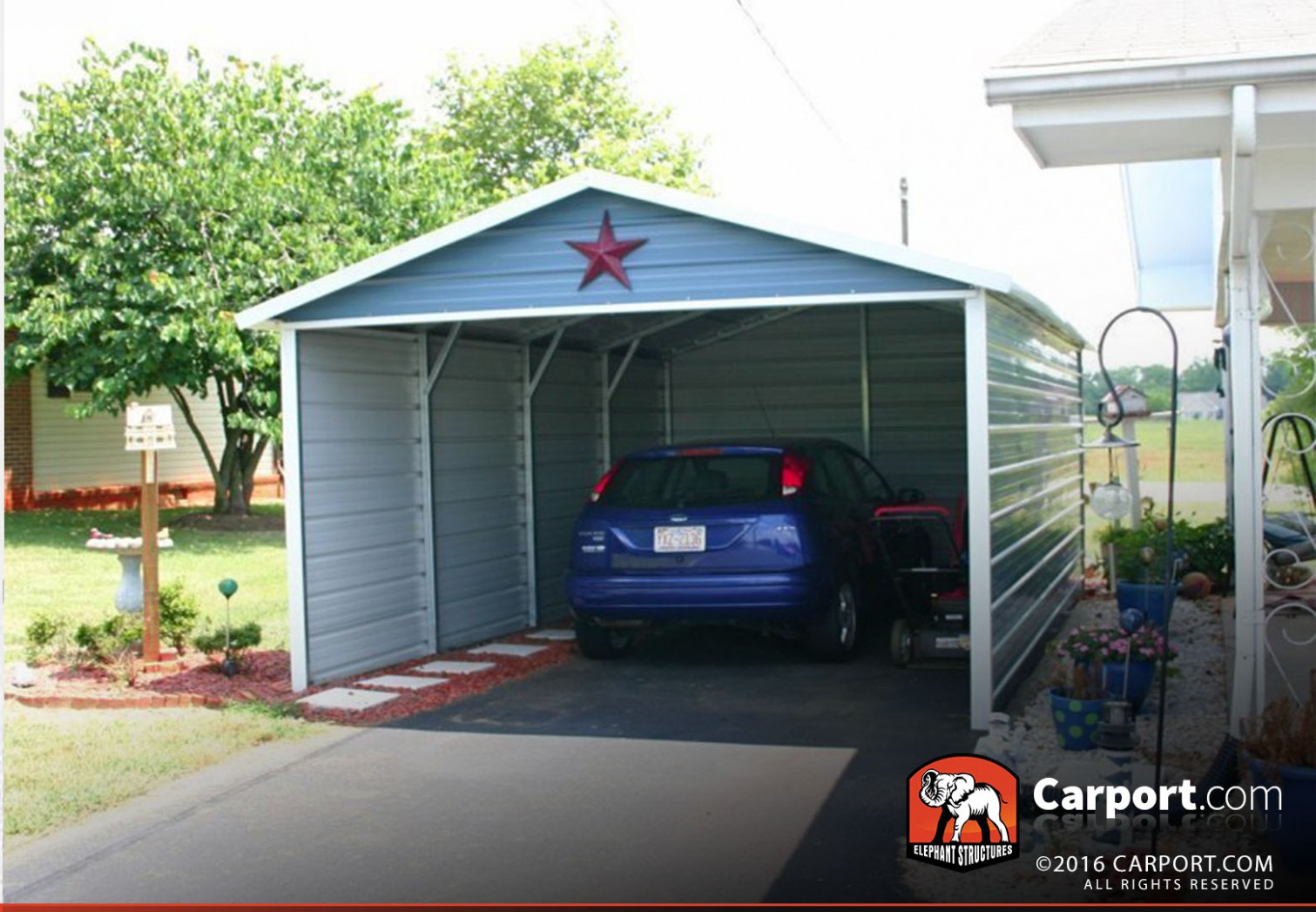 13x13 Single Car Carport Boxed Eave Roof Carport Parking Price