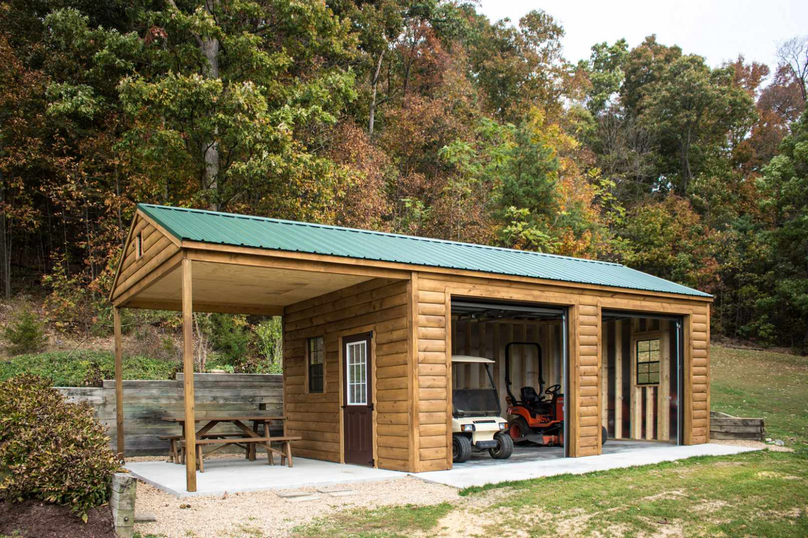 "14x32 Log Garage ""I Designed It"" Byler Barns Small Wooden Carports"