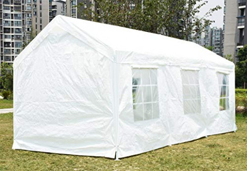 Peaktop 12 X12 Heavy Duty Portable Carport Garage Car Shelter Canopy Party Tent Sidewall With Windows White Portable Carport With Windows.jpg
