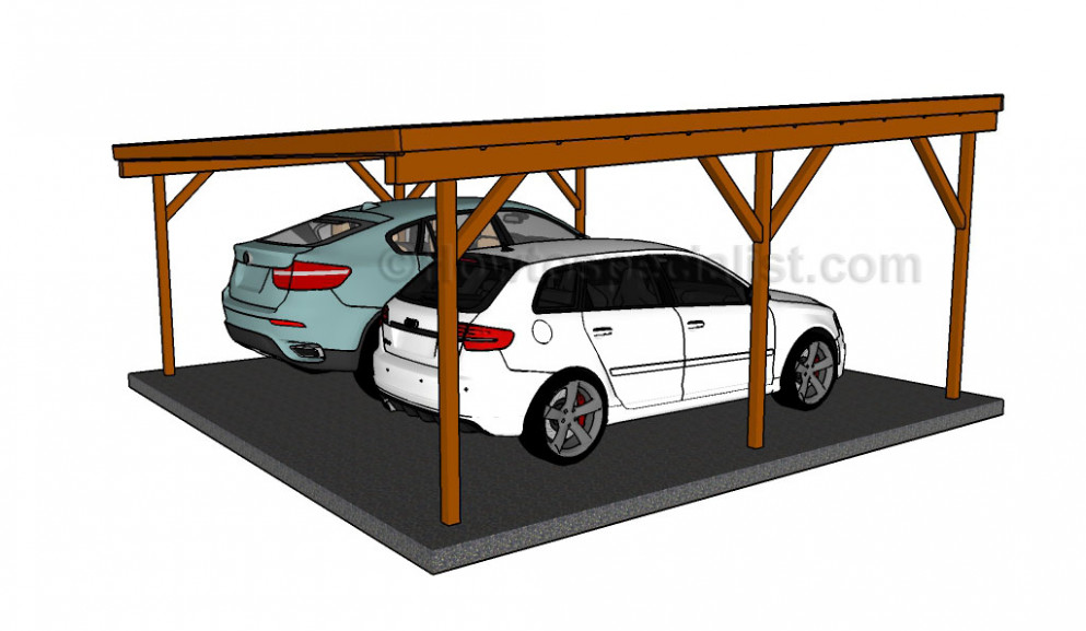 How To Build A Double Carport Howtospecialist How To Flat Roof Carport Designs.jpg