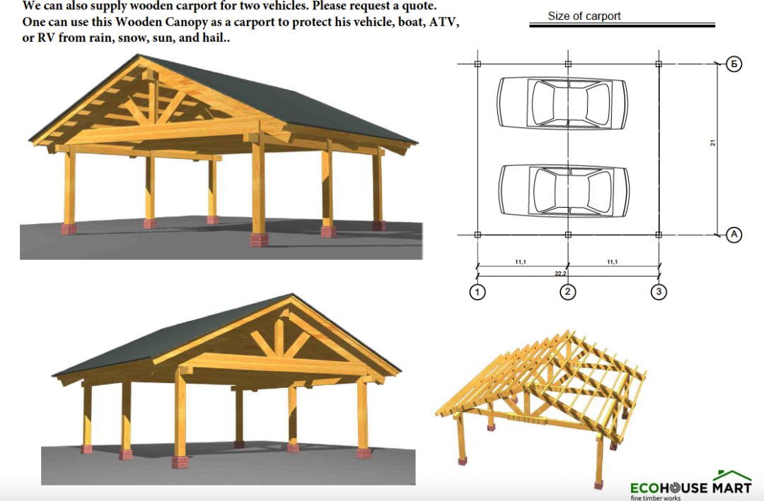 Prefab Heavy Timber Frame Carport For 9 Two Vehicles Cars Engineered Wood Canopy Wooden Carport Kits Canada.png