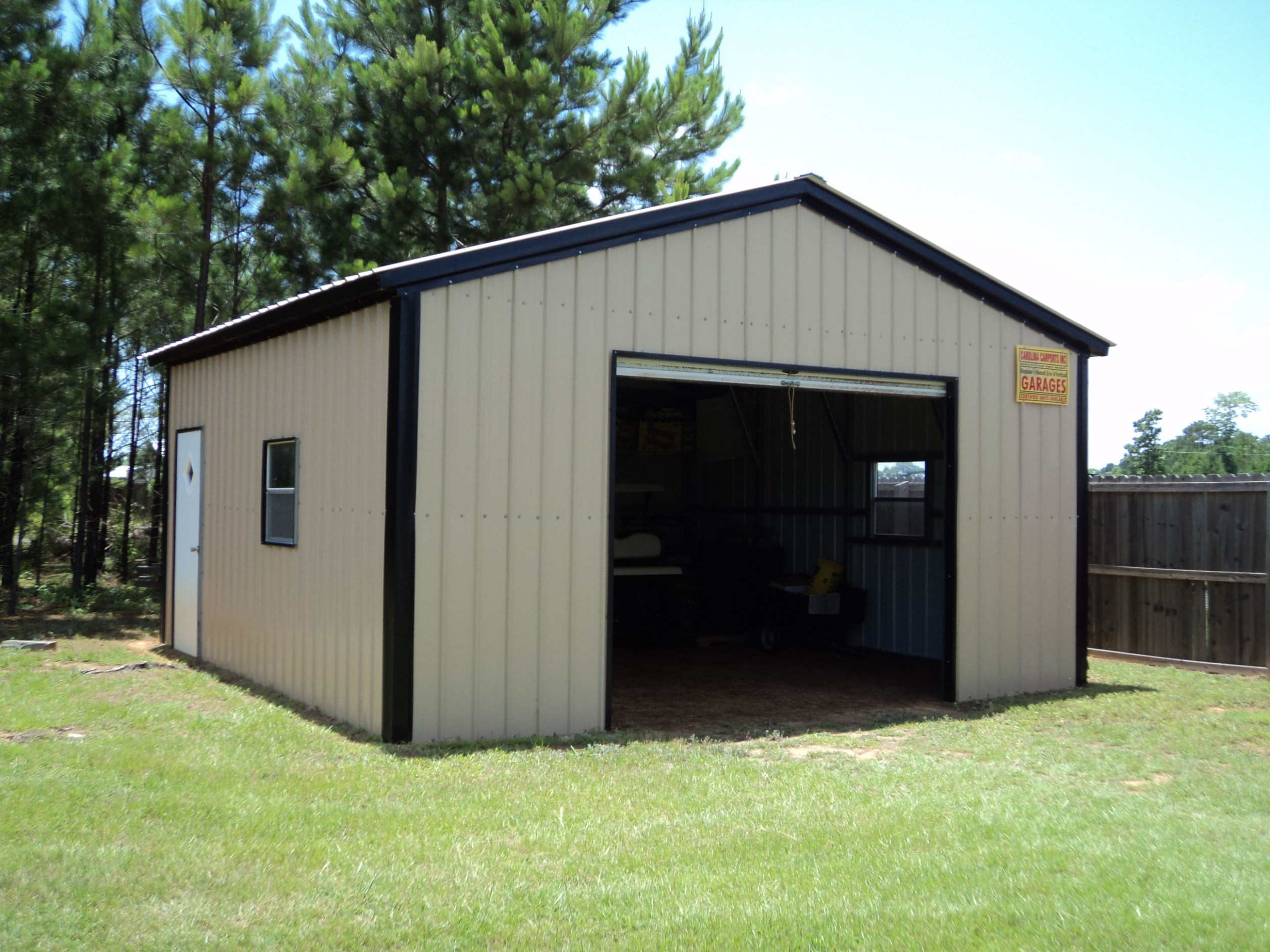 18 X 21 X 9 All Vertical Garage | Choice Metal Buildings How To Frame A Carport For A Garage Door