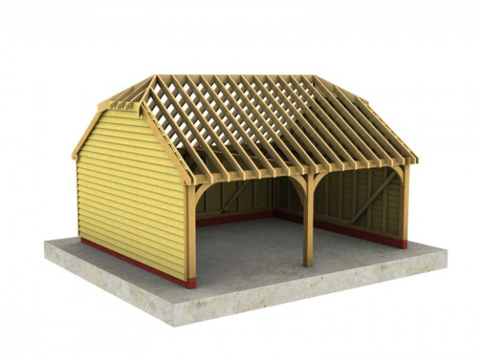 2 Bay B Depth Garage With Half Hipped Roof Half Carport Half Garage