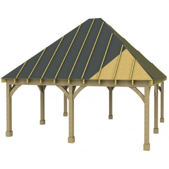 2 Bay Carport with High Pitch Hipped Roof