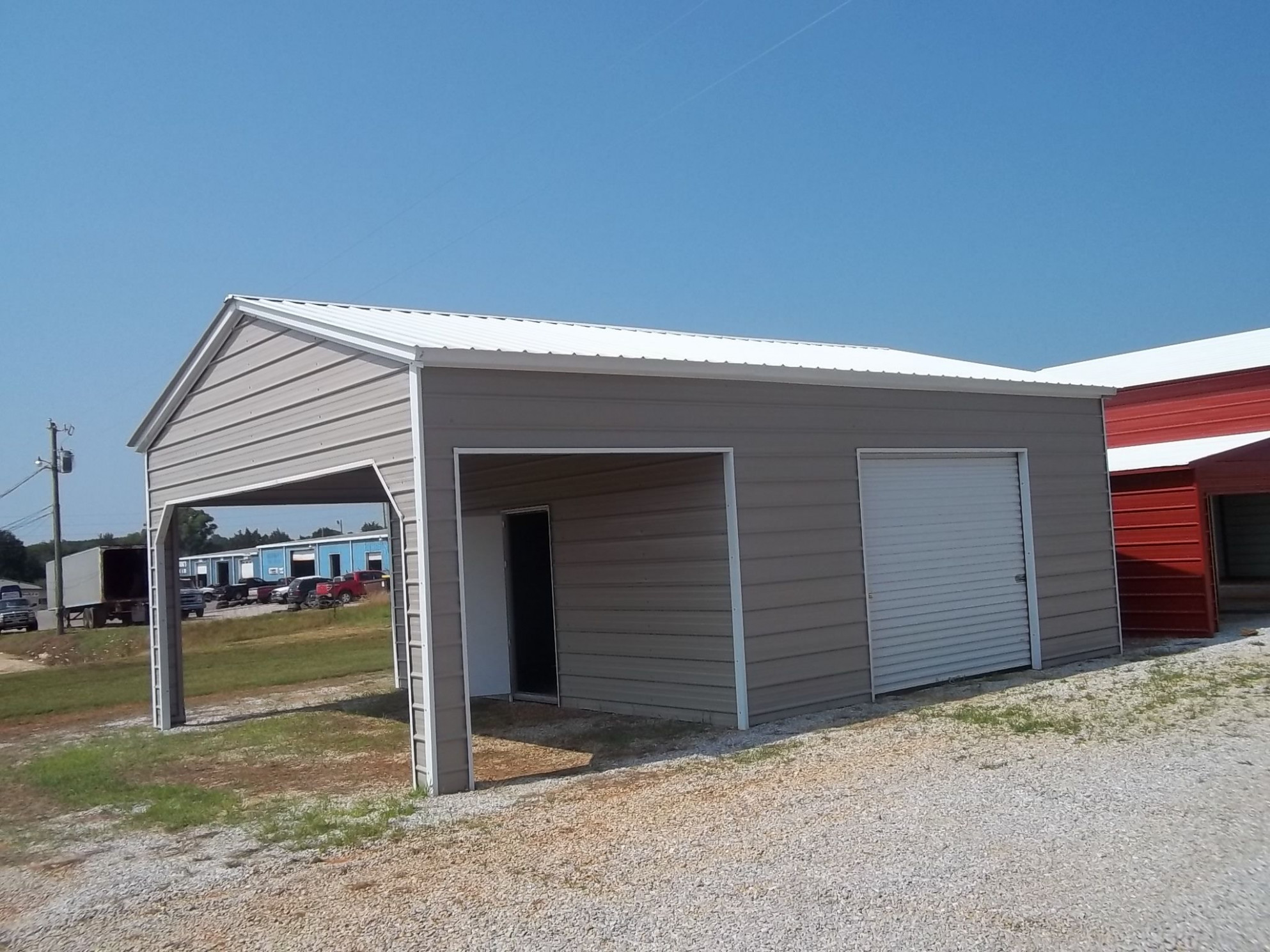 20 X 26 X 10 Combo Garage | Choice Metal Buildings Metal Carports With Garage Door