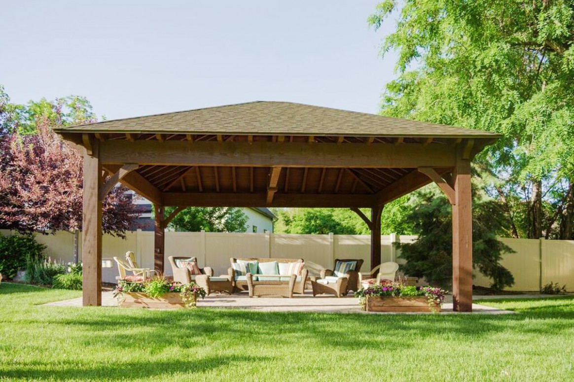 22'x24' Hip Roof Pavilion W/ Integrated Self Contained ..