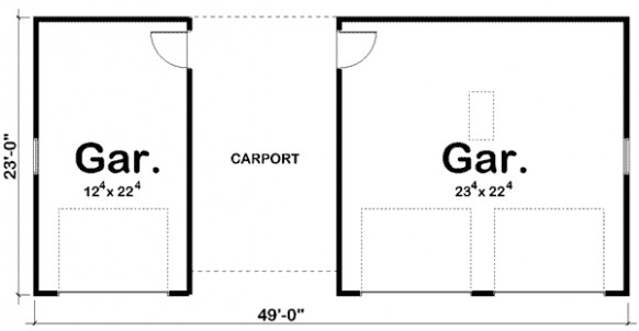 3 Car Garage Plus Carport - 62479DJ | CAD Available, PDF ...