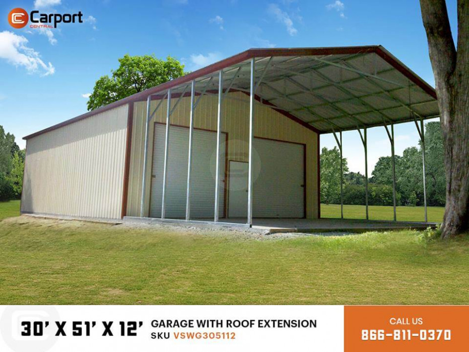 30x50 Garage With Roof Extension Carport Central Carport Roof Extension