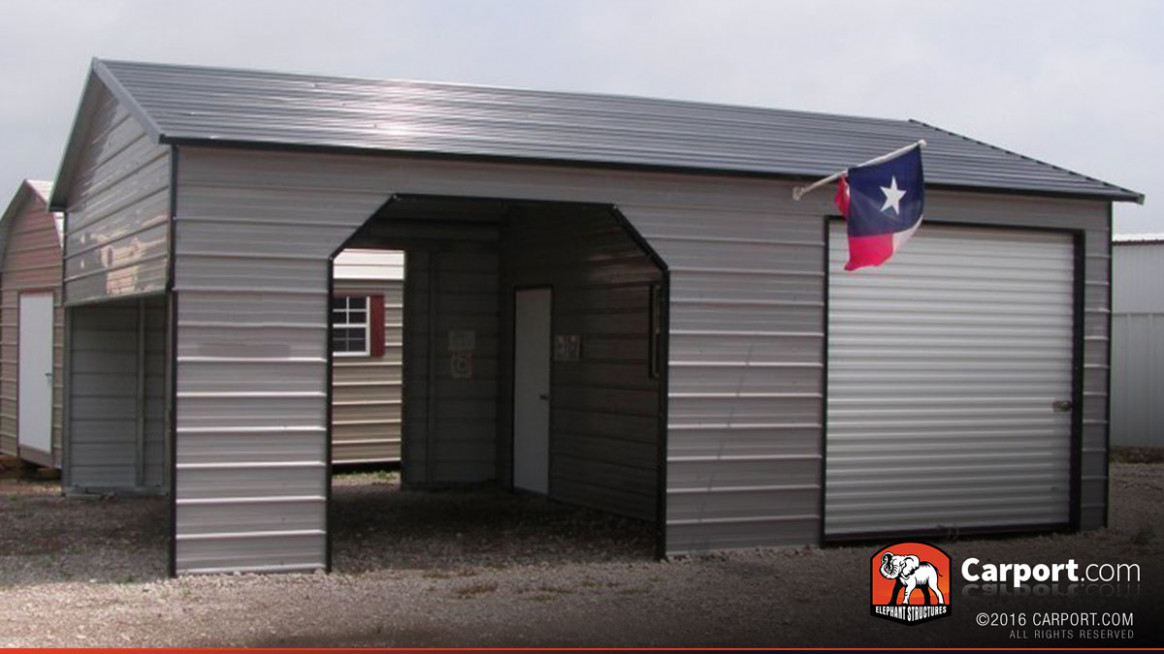 7' X 7' Metal Garage Building Boxed Eave Roof Pictures Of Metal Carports Attached To Garage