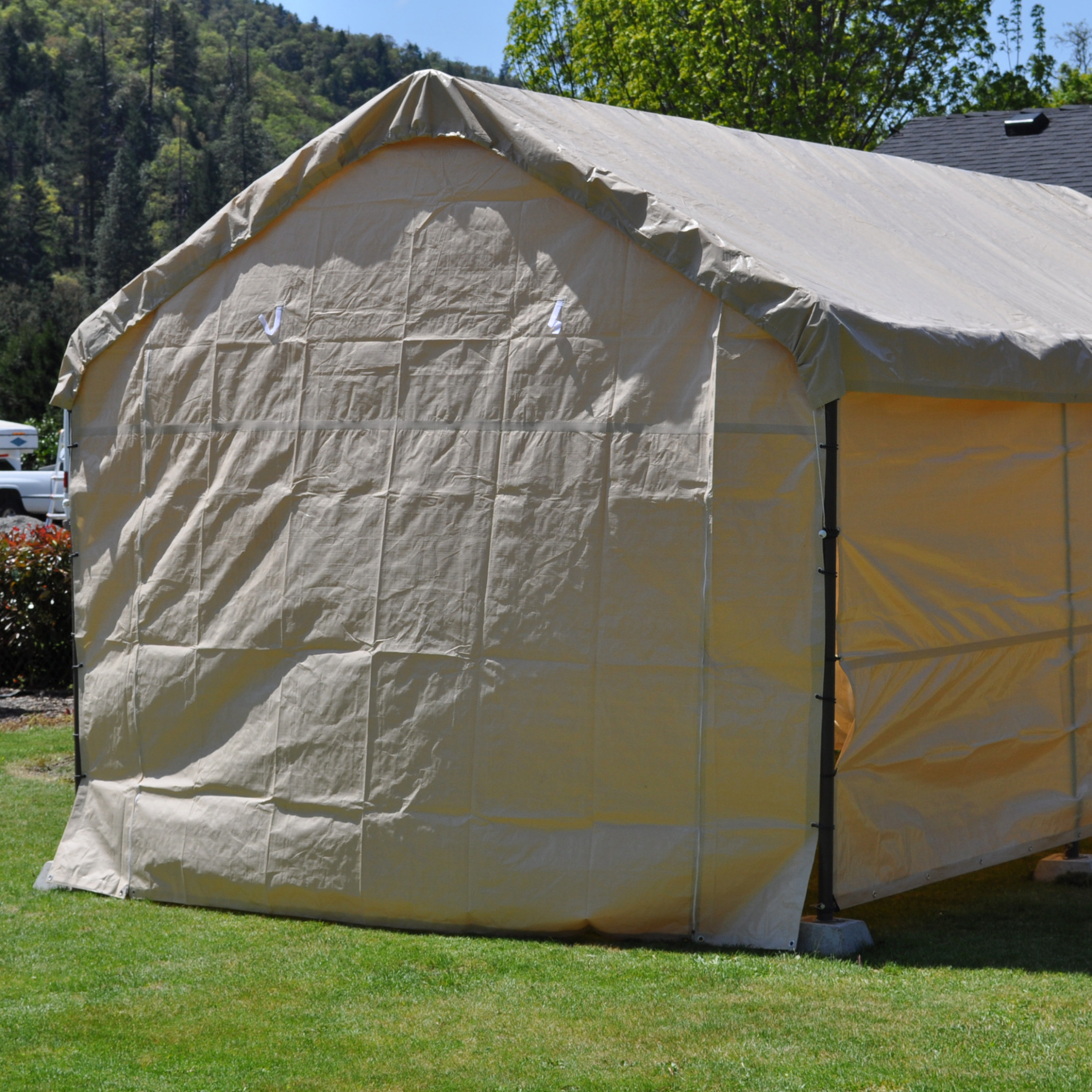 8 Foot Wide Replacement Carport Solid End Panel Tan ..