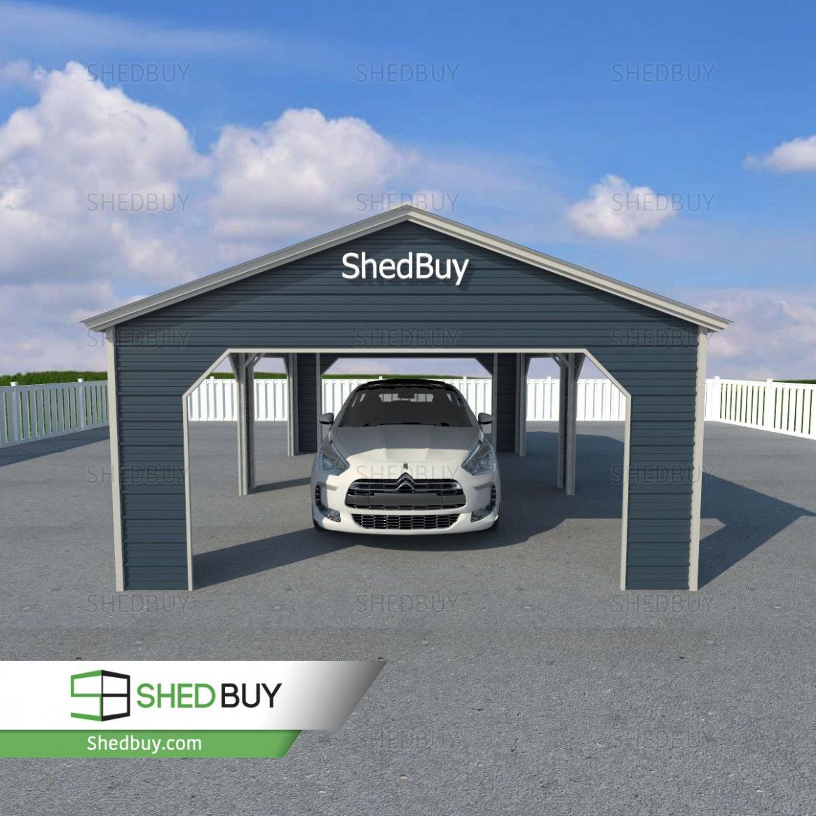 9'W X 9'L X 9'H Side Entry Carport With Vertical Roof ..
