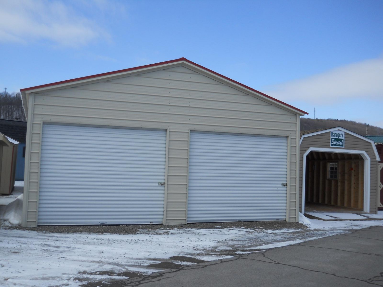 9 X 9 Fully Enclosed 9 Door Carport | Pine Creek Structures Carport Roll Up Garage Door