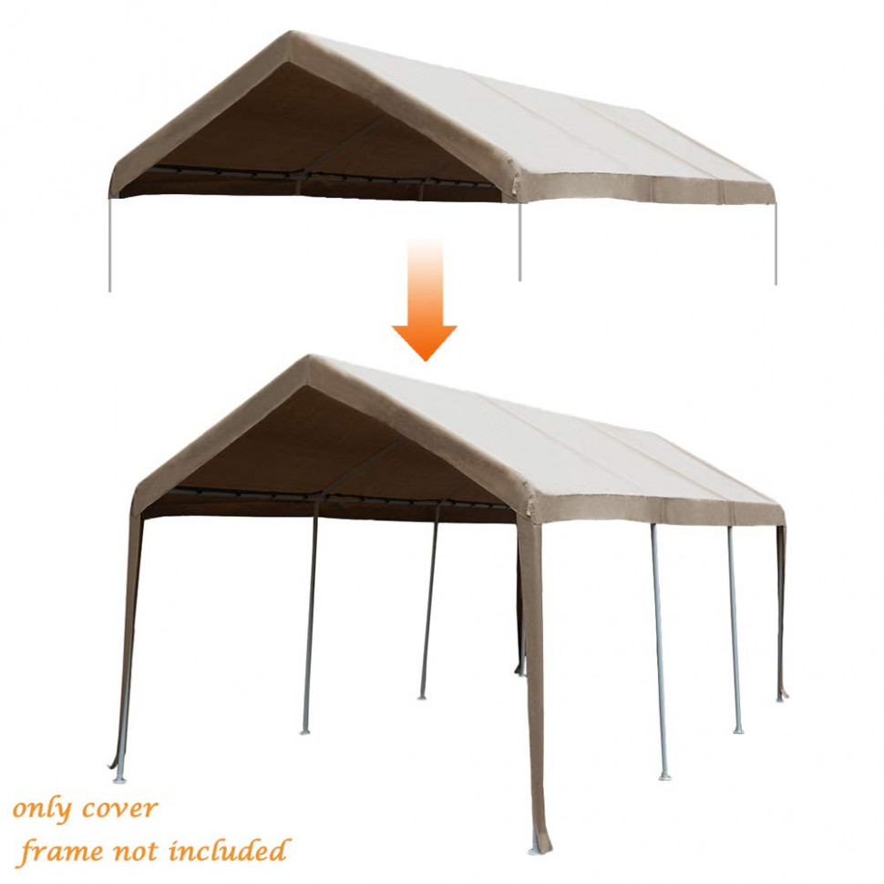 Abba Patio 10 X 10 Feet Carport Replacement Top Canopy Cover For Garage Shelter With Ball Bungees, Beige (Frame Not Included) Carport Color Ideas