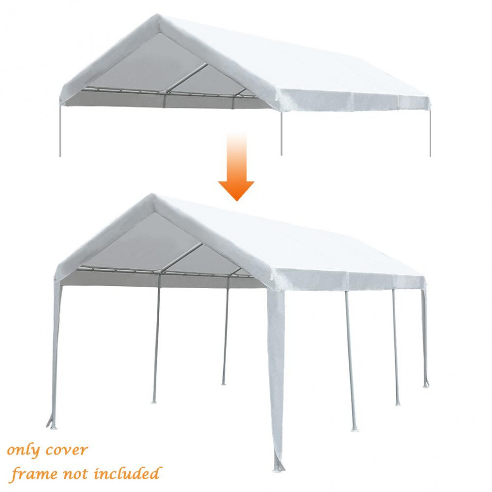 Abba Patio 10 X 10 Feet Carport Replacement Top Canopy Cover For Garage Shelter With Ball Bungees, (Frame & Top Cover Not Included) Garage Canopies And Carports