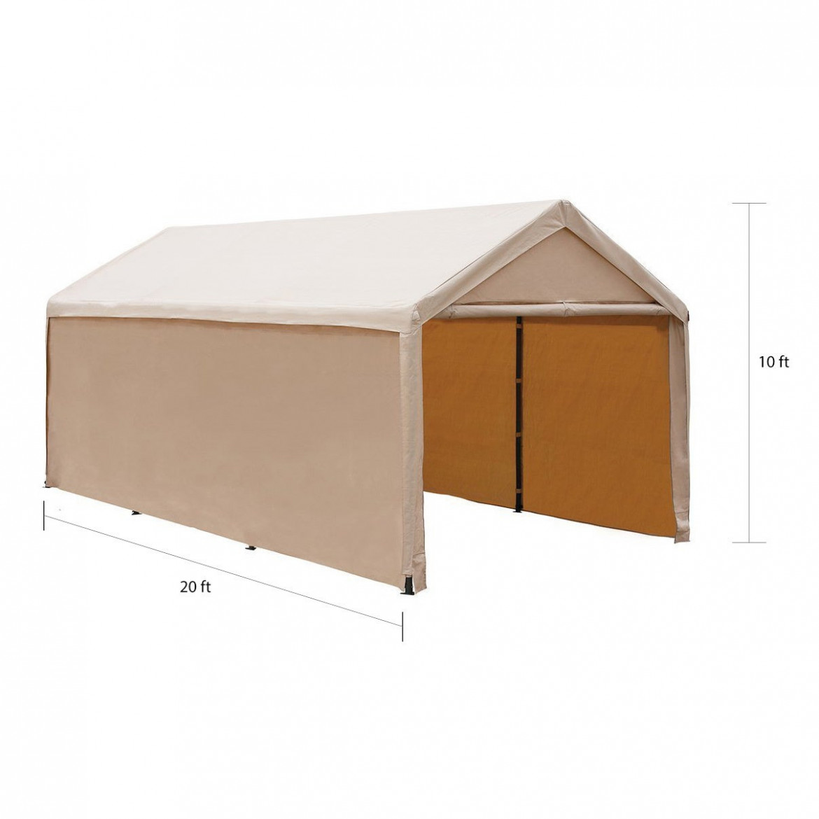Abba Patio 11 X 11 Feet, Steel Framed Enclosed Canopy Carport/Shelter, Beige Wooden Carport Kits For Sale Canada