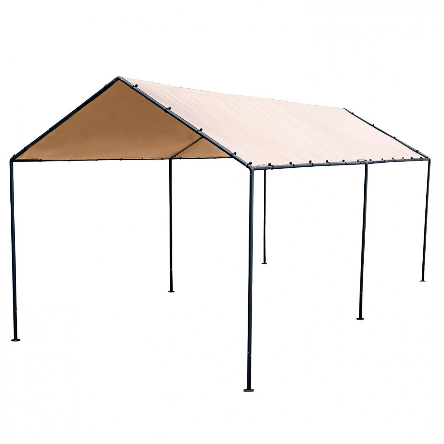 Abba Patio 13 X 13 Feet Light Portable Canopy With 13 Steel Legs, Beige & Brown Brown Carport Canopy