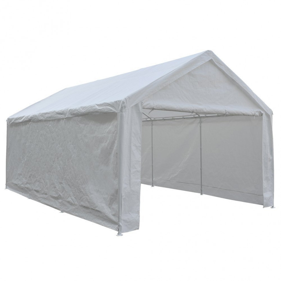 Abba Patio 8 X 8 Feet Heavy Duty Carport, Car Canopy Shelter With Removable Side Panels, Doors And 8 Steel Legs, White Carport Wooden Zipper