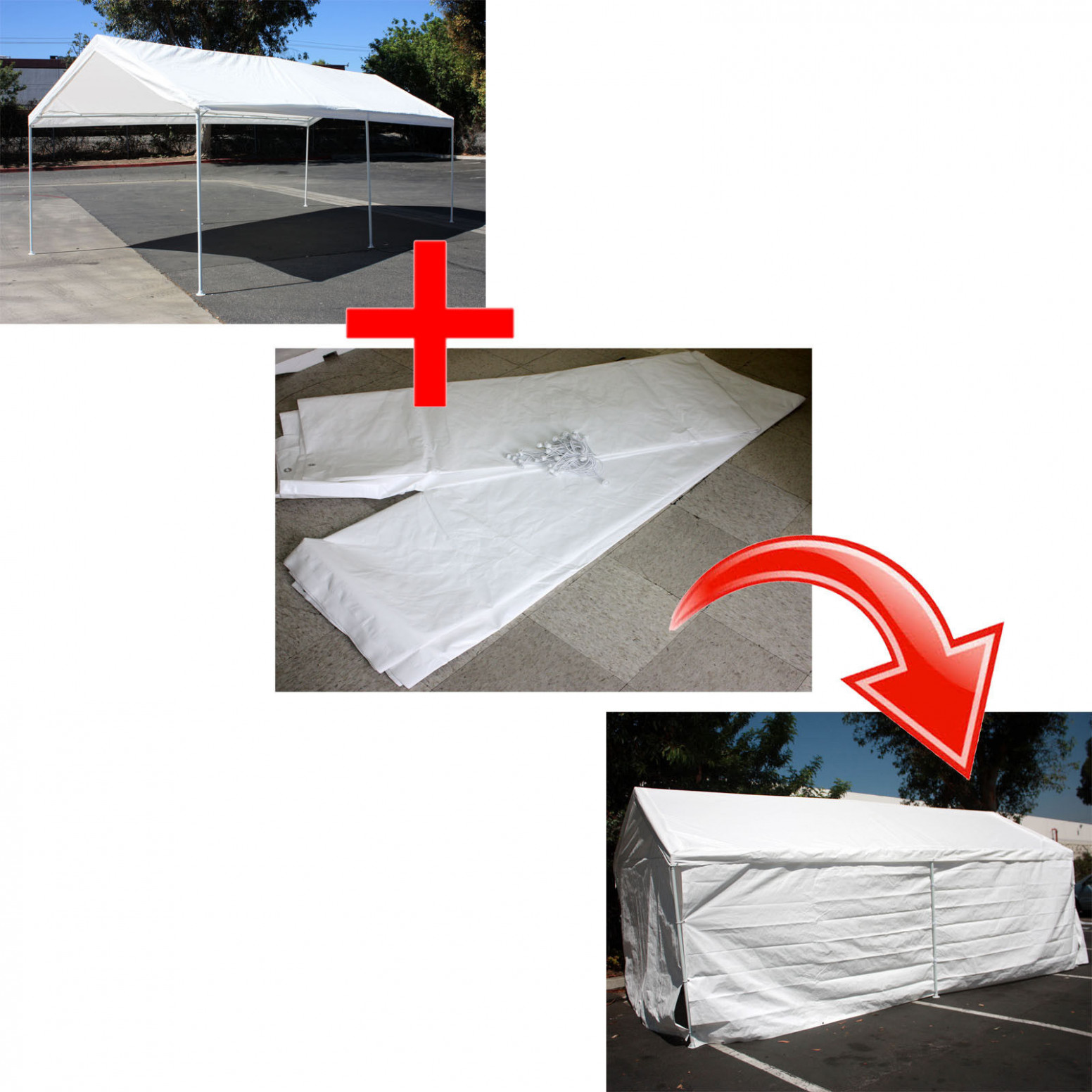 Add On Canopy Garage Side Wall Kit 12 12'x12' Tent Parking Carport Party Shelter Carport Parking Kits