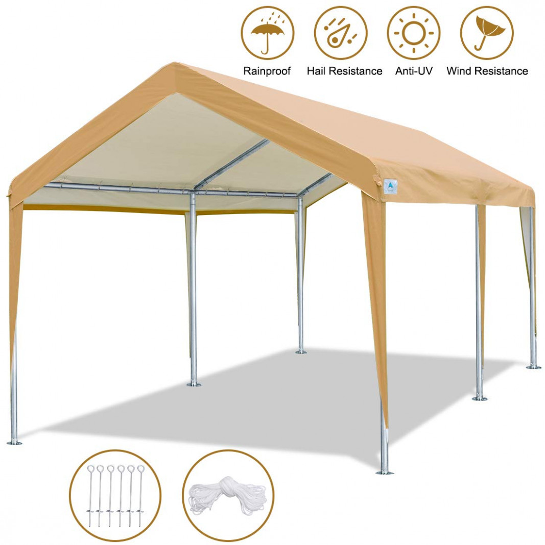 ADVANCE OUTDOOR 9 X 9 FT Heavy Duty Carport Canopy Car Garage Shelter Party Tent With Steel Pegs And Anchors, Beige How To Add A Carport To Your Garage