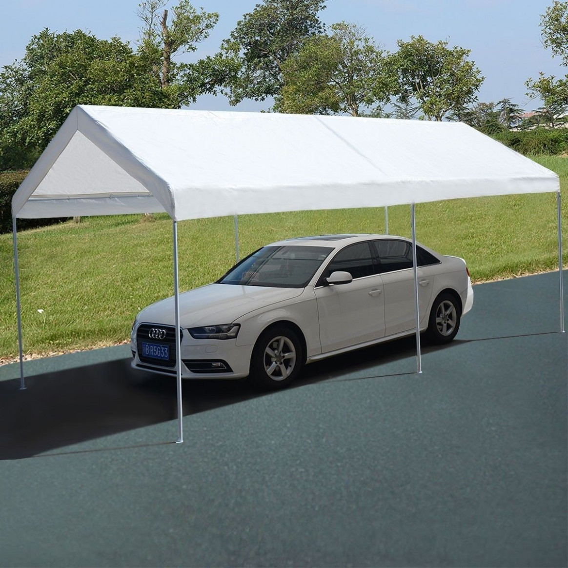 Apontus 12 X 12 Steel Frame Canopy Shelter Portable Car Carport Garage Cover Party Tent Carport Canopy And Frame