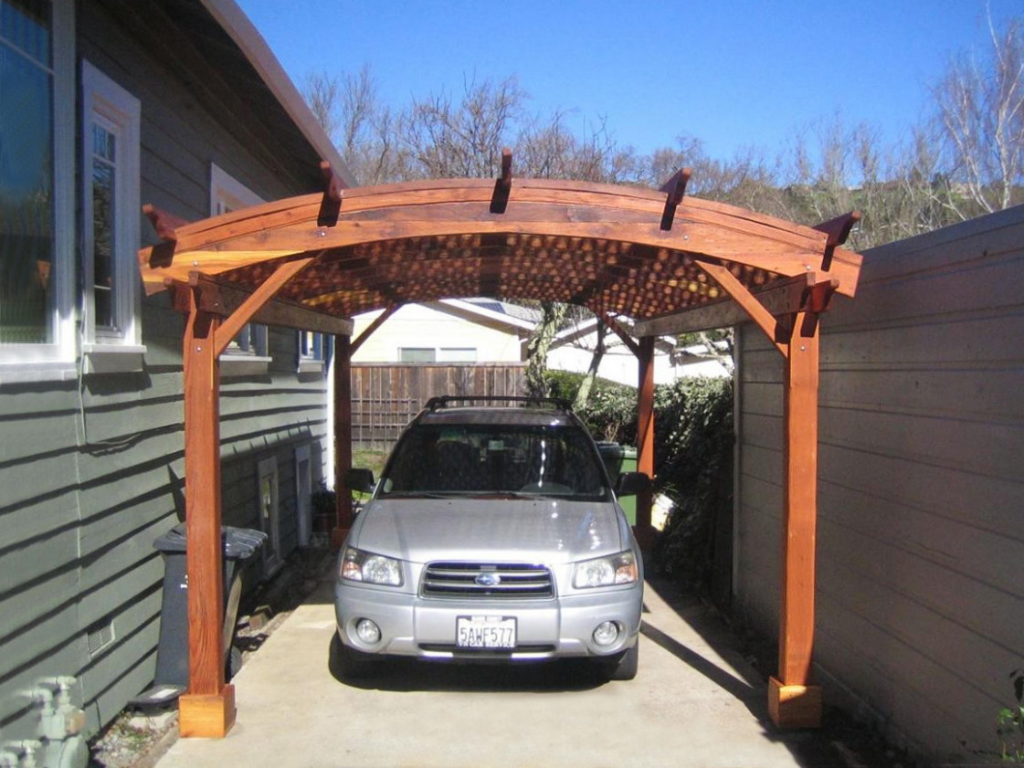 Arched Pergola Kits: Redwood Arched Garden Pergolas Carport Pergola Ideas