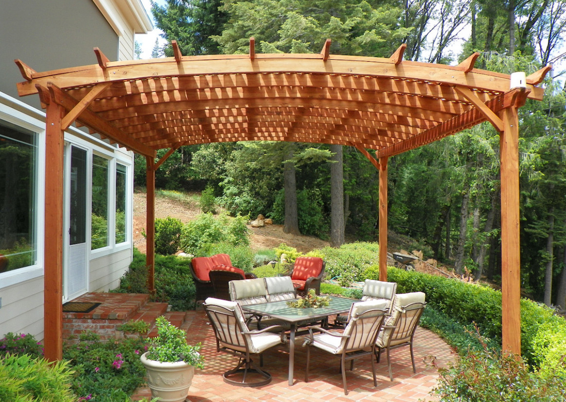Arched Pergola Kits: Redwood Arched Garden Pergolas Carport Roof Sealant