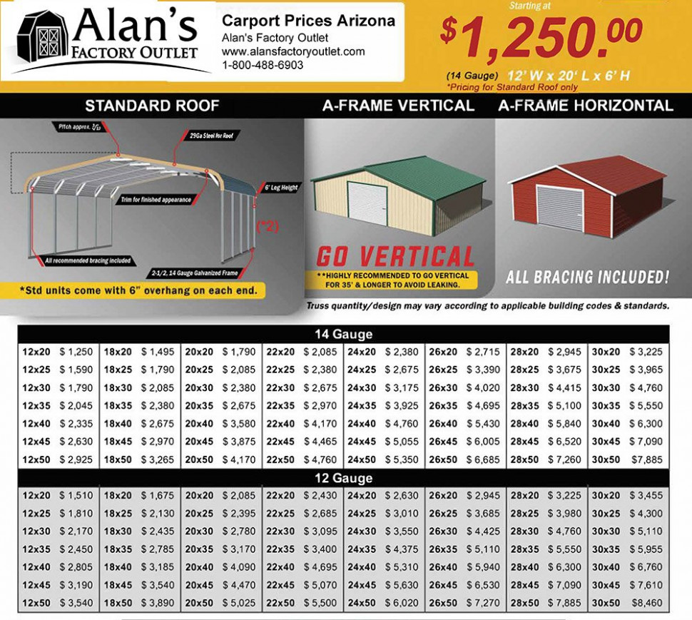 Arizona, AZ, Carports, Metal Garage Prices Eagle Carports Roof Pitch