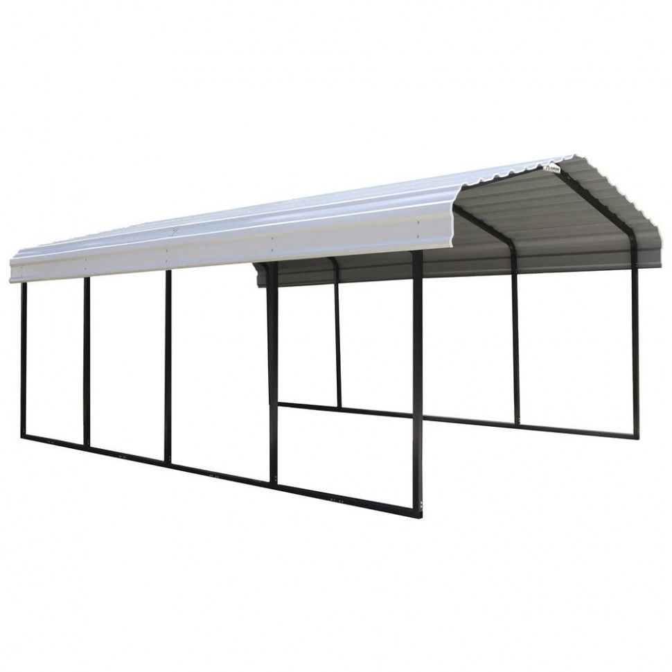 Arrow 10 ft. W x 10 ft. D Eggshell Galvanized Steel Carport, Car Canopy and  Shelter